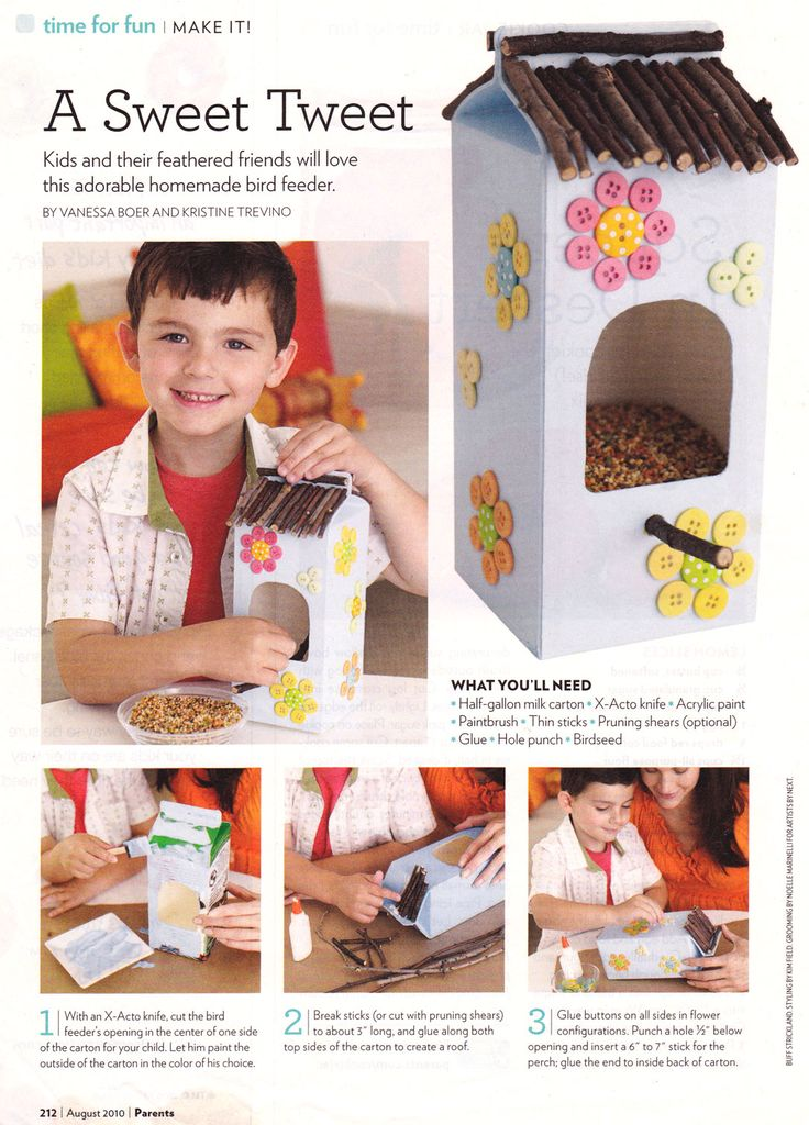 Kiddie Craft: DIY Milk Carton Bird Feeder from Parents Magazine