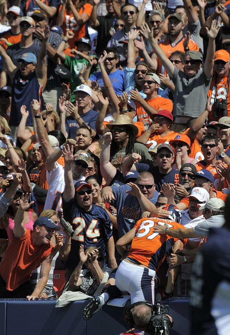 NFL Football Betting Preseason Action Broncos Gets A Touchdown I love NFL so much that I do NFL football betting and watch every single game of it. Denver Broncos wide receiver Eric Decker (87) celebrates with fans after catching a touchdown pass from quarterback Peyton Manning during the first quarter of an NFL preseason football game against the San Francisco 49ers. Visit Us: www.sportsbook.ag...
