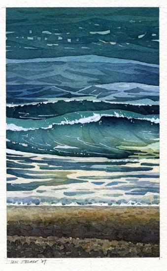 Cold Sea by Iain Stewart. Watercolour ~ 10 x 6