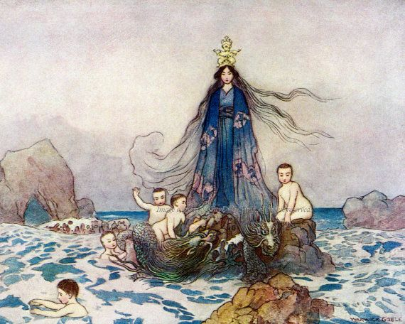 Japanese Goddess of Sea and Song with her Sea Serpents and Water Fairies, reproduction of a Warwick Goble image, in my #Etsy store now.