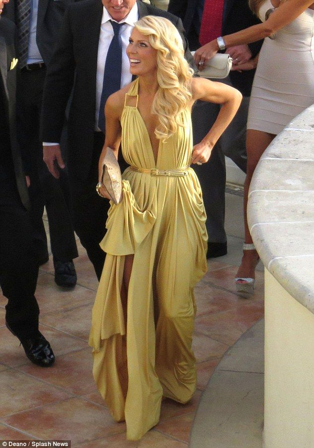 Like a goddess: This draping golden gown was a show-stealing runner up..Love this gold gown..