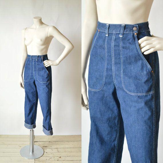 Vintage High Waist Jeans --- 1940s Blue Jeans