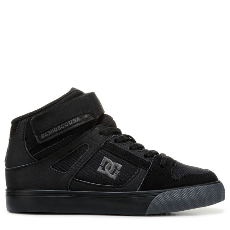 DC Shoes Kids' Spartan EV High Top Skate Shoe Pre/Grade School Shoes (Black Leather)