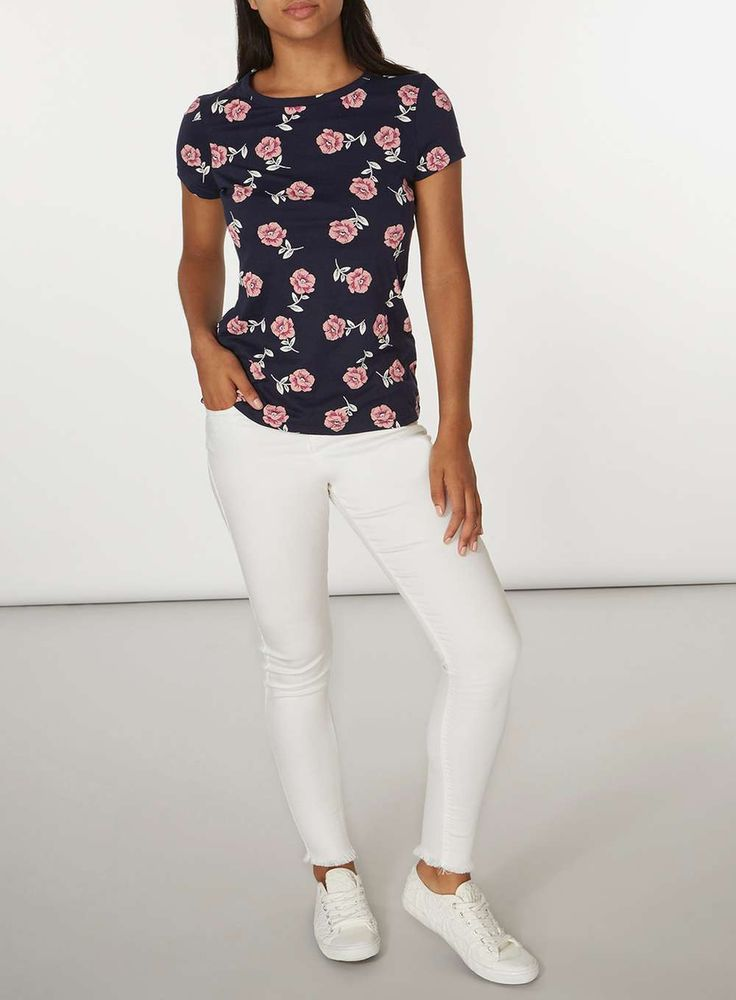 Womens Navy And Pink Floral T-Shirt- Blue