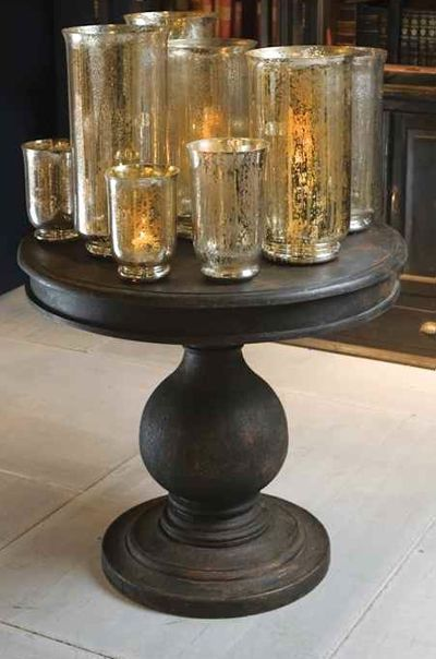 Antiqued Black Foyer Table Has A Fantastic Shape Mercury Gl Containers Compliment Details Pinterest Furniture And