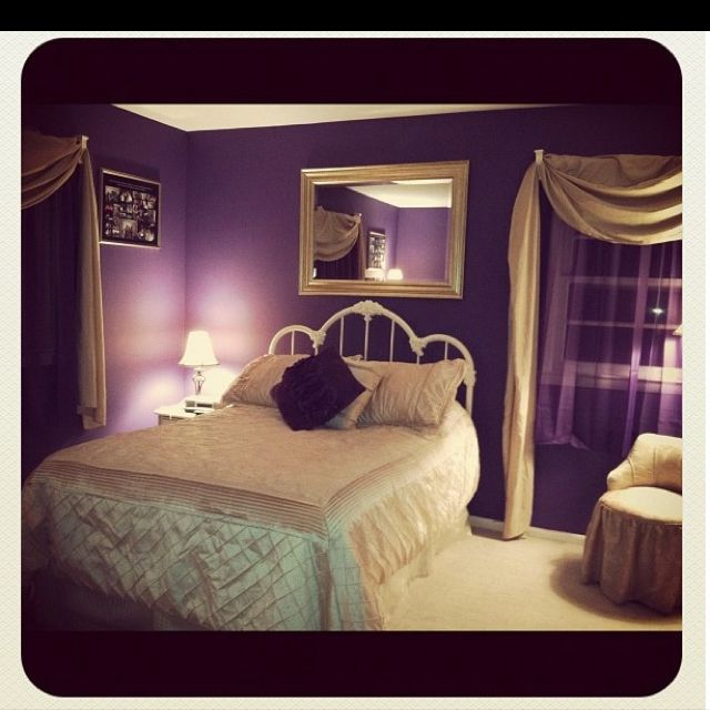 my bedroom i love purple and gold together