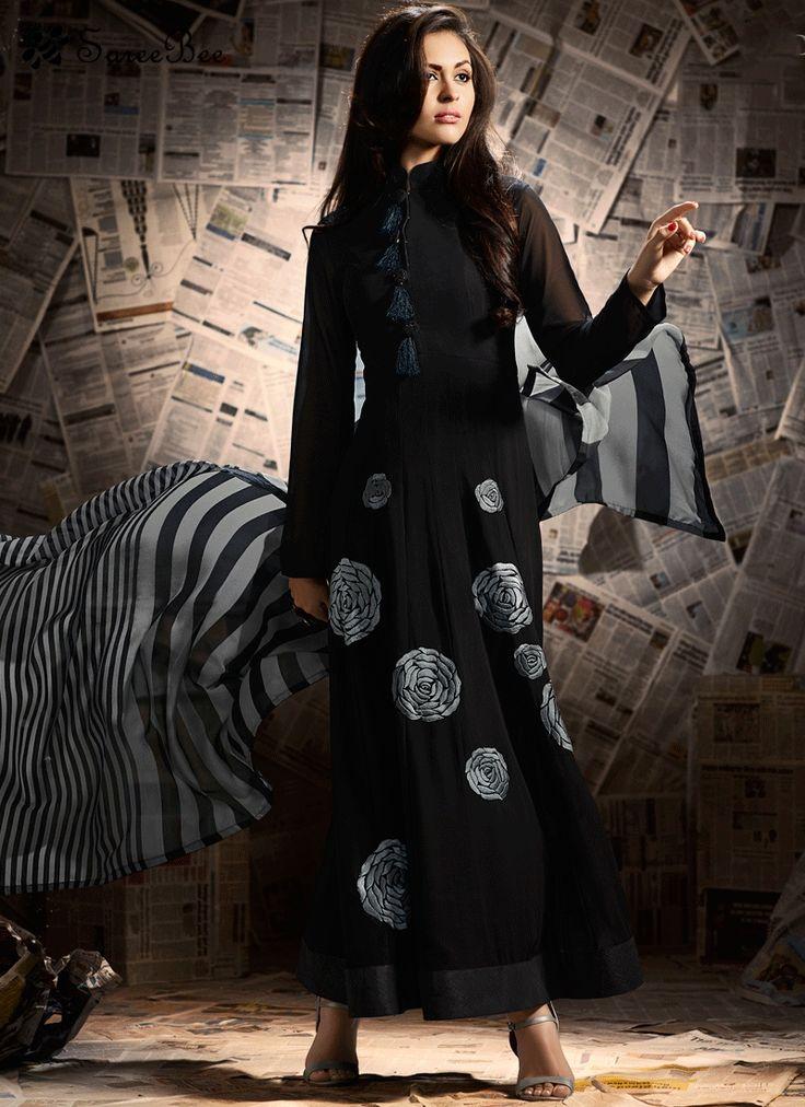 Black Faux Georgette Anarkali Suit  For More Information WhatsApp 7202080091 Or Visit www.SareeBe.com #red #designer #kurti #fashionista #makeup #UK #outfitoftheday #women-fashion #model #indian #saree #ramadanmubarak #ethnic #picoftheday #cool #summer-style #streetstyle #beauty #styles #rakshabandhan #rakshabandhangift
