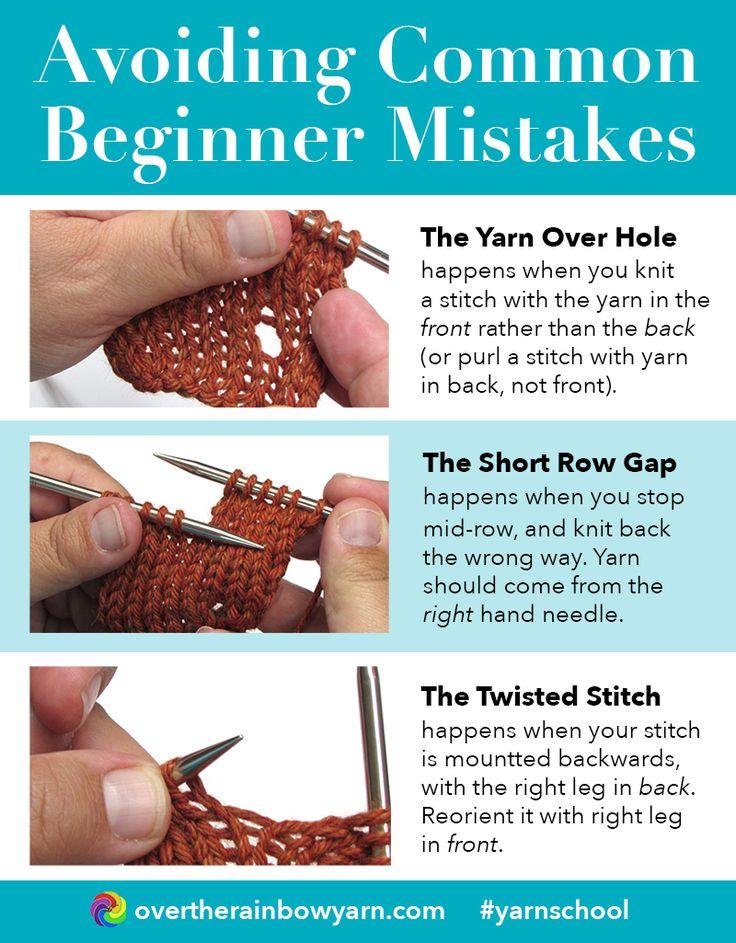 Avoiding 3 Common Beginner Knitting Mistakes, from Yarn School by Over the Rainbow Yarn. #yarnschool