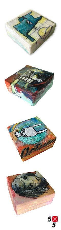 'Sour Cat' 'Personal Space' 'White Rabbit' 'Cautious'  5x5 cm, acryl/mixed media on wood  Vier schilderijtjes voor de expositie 5x5 SmallArt. 1 juli t/m 27 augustus 2017. Terratorium Zoetermeer. FREE ACCES.   By Hilda Groenesteyn / studio HILLE