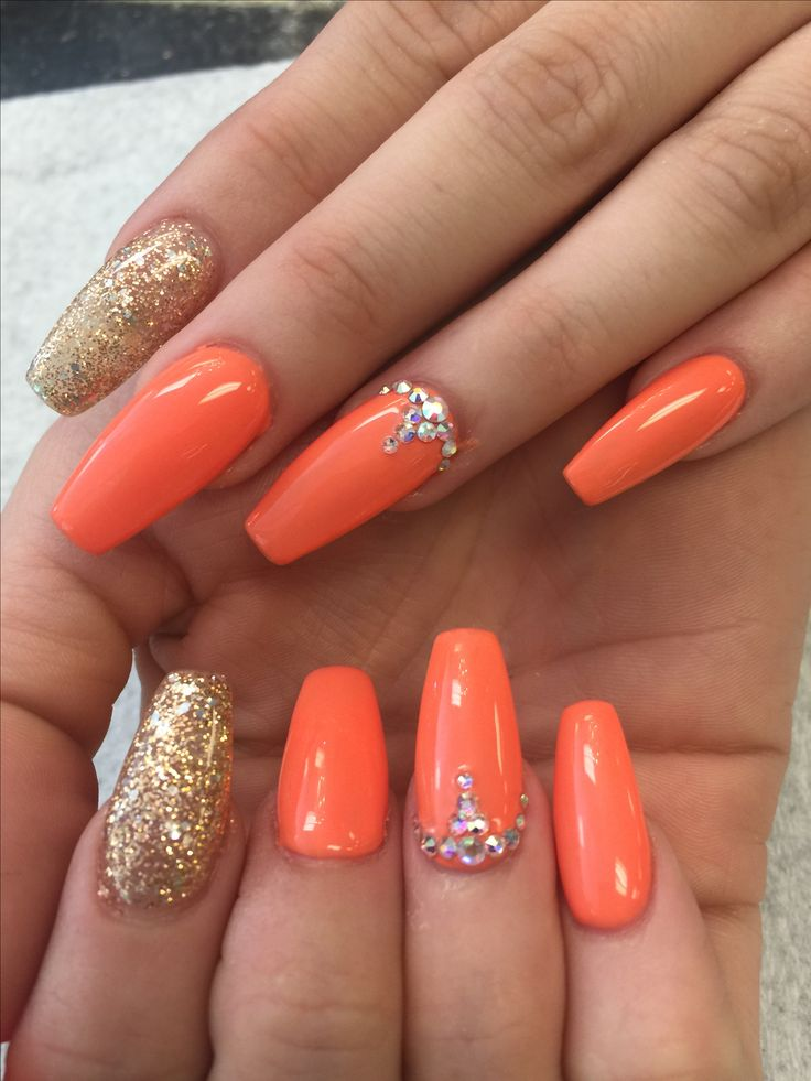 Orange Nails With Chevron And Glitter Nail: Hot Orange Colors And Rhinestone Designs