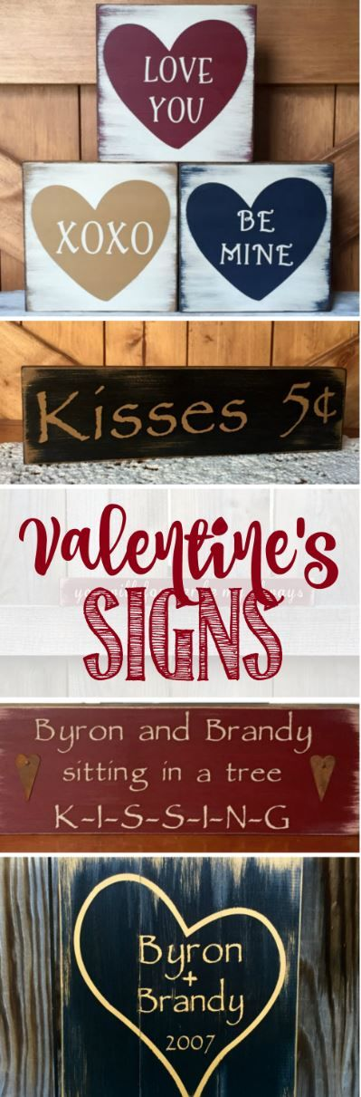 Wooden Valentine's Day Decor Signs - Love You - XOXO - Kiss Me - Be Mine - Kisses 5 cents - Rustic Farmhouse Style Valentine's Decoration Ideas #ad