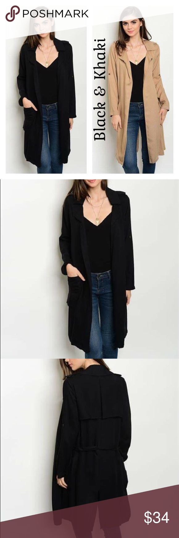 """Black Lightweight Trench Coat This listing is for a black lightweight trench coat.  Also available in khaki in a separate listing.  100% rayon.  Length 39"""". Jackets & Coats Trench Coats"""