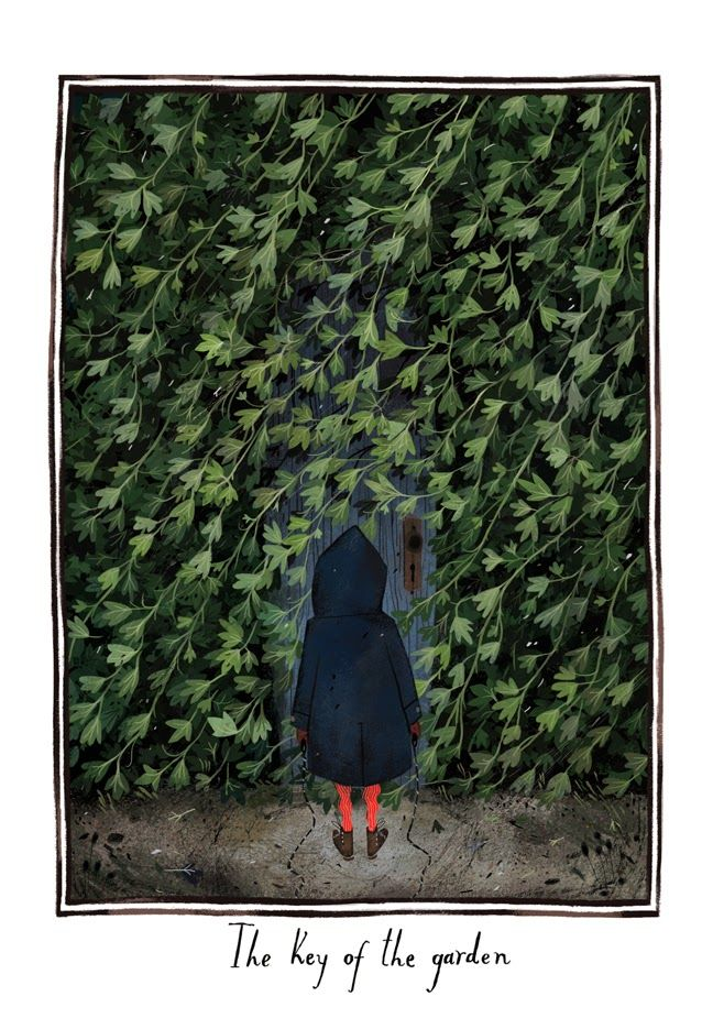 """The Key of the Garden"" illustration by Júlia Sardà for ""The Secret Garden"" by Frances Hodgeson Burnett"