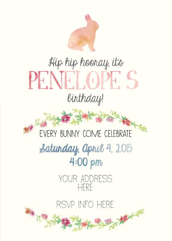 Bunny Themed First Birthday Invitation by MaeberrysNest on Etsy