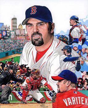 Jason Varitekof the Boston Red Sox by Neal Pornoy.