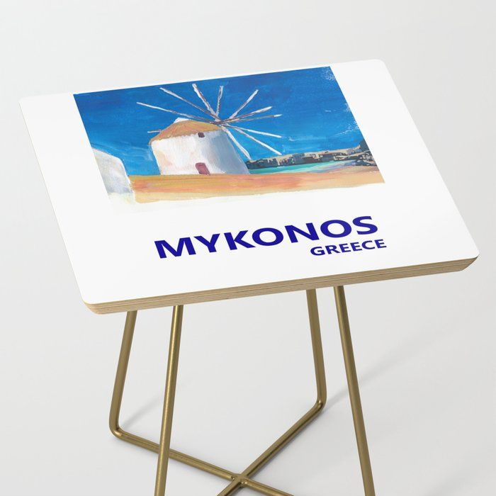 Mykonos Greece Windmill Sea And Little Venice Travel Retro Poster Side Table By Artshop77 Society6 In 2020 Mykonos Greece Retro Poster Mykonos