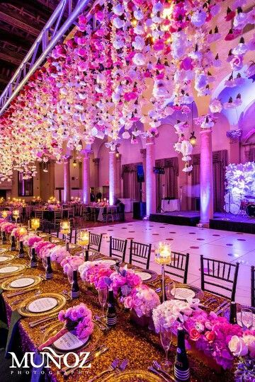 Flowers Cascading From Ceiling Pink Flower Design