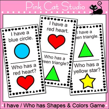 I Have Who Has Shapes And Colors Game Your Class With A Blast