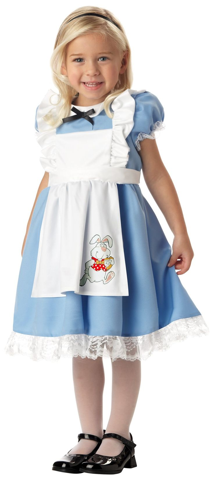 Little alice in wonderland toddler costume includes adorable blue dress with white apron with bunny print and matching black headband