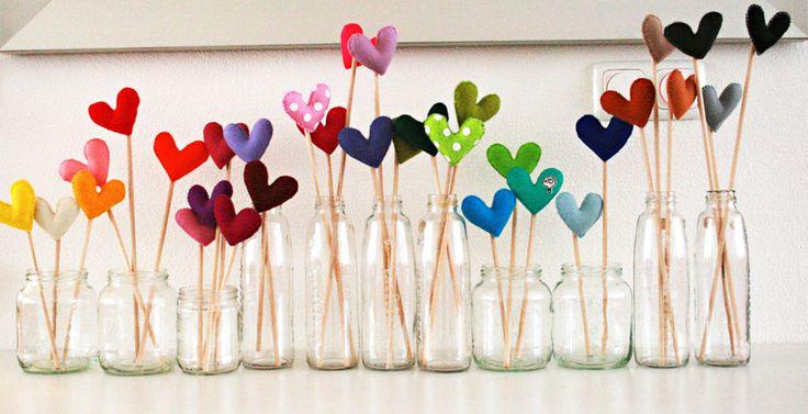 a little forest of felt hearts: Crafts Ideas, Jars Of Heart, Cute Ideas, Sticks, Valentines Day, Valentinesday, Diy, Felt Heart, Flower
