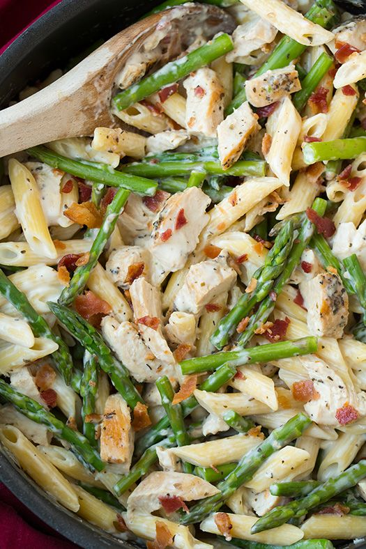 Creamy Chicken and Asparagus Pasta with Bacon - this pasta was AMAZING! Its like a lighter alfredo pasta plus chicken, asparagus and bacon.