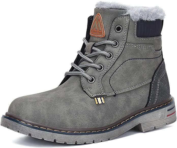 MISHANSHA Boys Girls Winter Snow Boots Warm Fur-lined Waterproof Anti-Slip Shoes