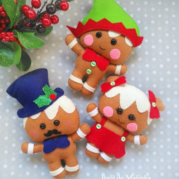 Pdf Pattern Felt Gingerbread Christmas Ornaments Christmas