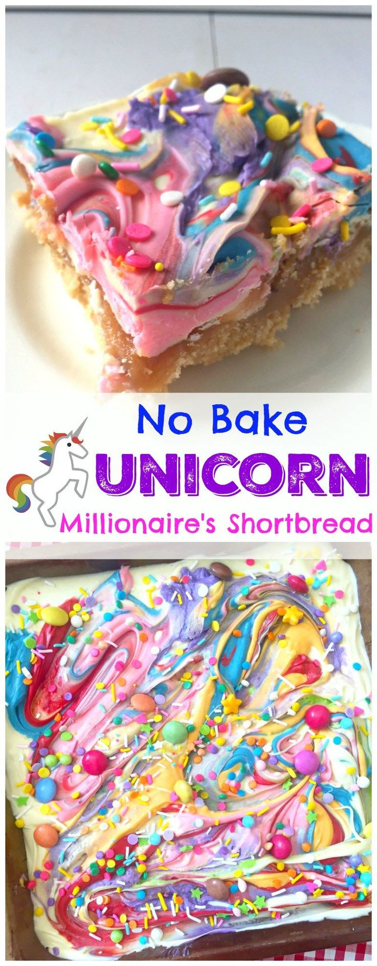 Crumbly rich shortbread, delicious caramel, and white chocolate make for the prettiest, most magical No Bake Unicorn Millionaire's Shortbread Recipe