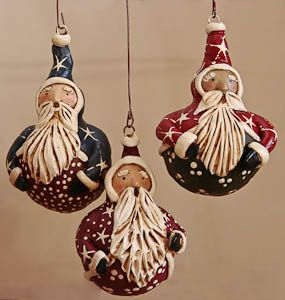 Santas - would be great on bottle gourds using Quikwood for face & arms!