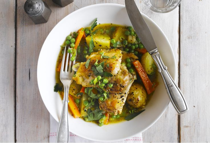 A light and quick spring chicken and vegetable stew that can be whipped up in less than an hour