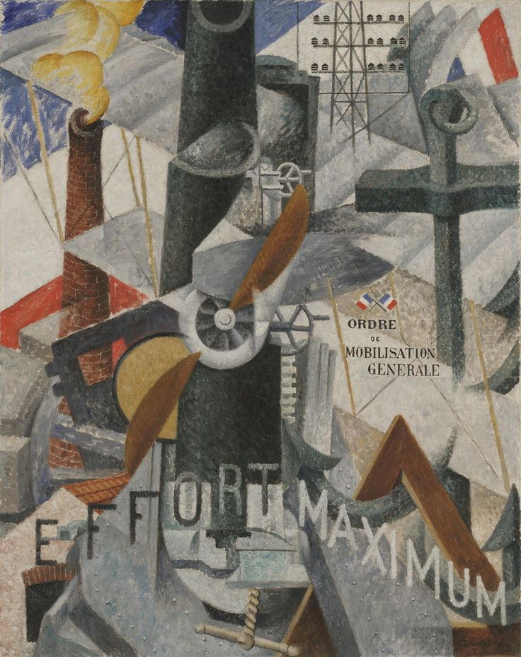 "Gino Severini Visuele synthese van het begrip 'Oorlog' (1914) www.moma.org Severini created an image rife with words and symbols evoking the trappings of modern warfare: the slogans ""order of general mobilization"" and ""effort maximum"" (in French) as well as canons, French flags, a propeller, smokestacks, and other signifiers of power."