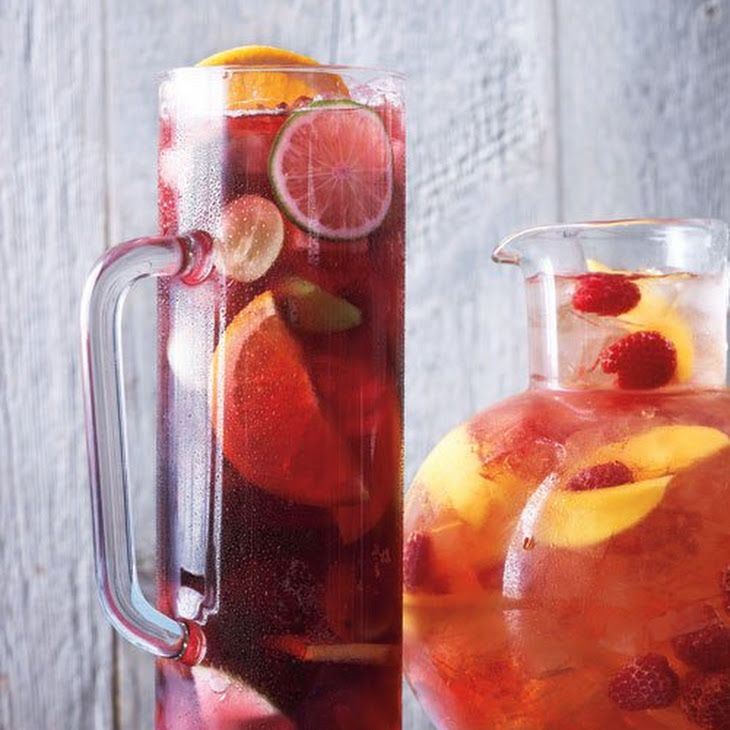 Classic Sangria Recipe Beverages, Cocktails with orange, lime, granny smith apples, green grape, brandy, dry red wine, lemon-lime soda, ice