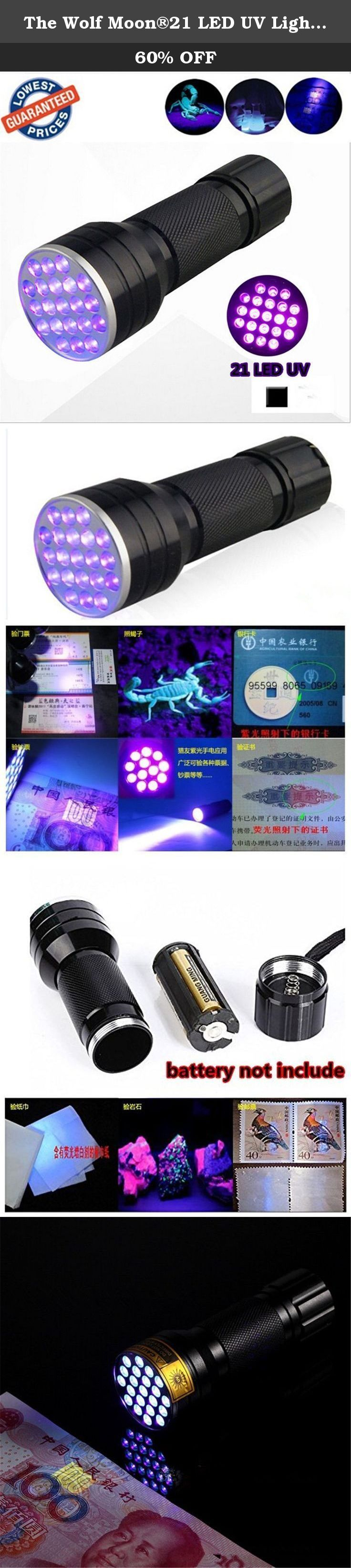 The Wolf Moon®21 LED UV Light 395nm Ultraviolet Flashlight Blacklight to Authenticate Currency. Size:21 LED Main application: Disinfection sterilization. curing printing ink . Checking metal crack. Looking for photocatalyst,fuel and gas leaks. Money,Tickets, Passort, Credit card, official identification cards Anti-fake detection. Medical measurements and biometric security testing. Spotting natural amber, arresting scorpions, attracting fish showing invisible food stains on the floor and...