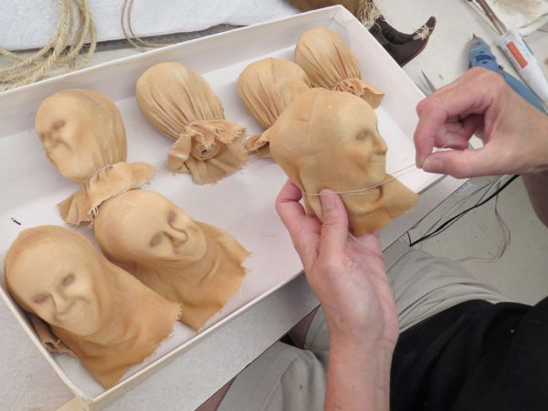 R. John Wright Dolls - Production  The following photos were taken during production of Scarecrow from the Wizard of Oz™ collection  The necks are arranged and tied in place #RJWDolls #RJohnWrightDolls #CollectibleDolls