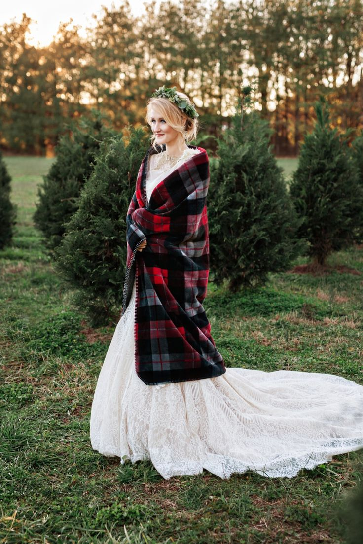 Plaid wedding dress   best Winter wedding images on Pinterest  Winter weddings