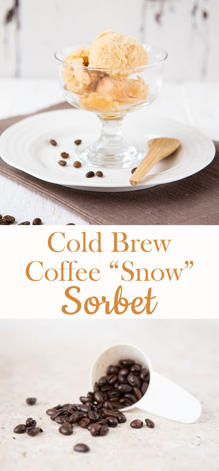 An easy recipe for a light and refreshing coffee & caramel sorbet which has the texture of snow, perfect for the summer months