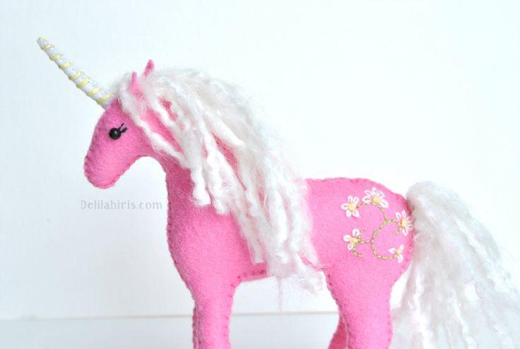 Hand Stitched Stuffed Unicorn, *Made To Order*  Felt Waldorf Style Plush Animal, Embroidered Felt Unicorn Plush by DelilahIris on Etsy
