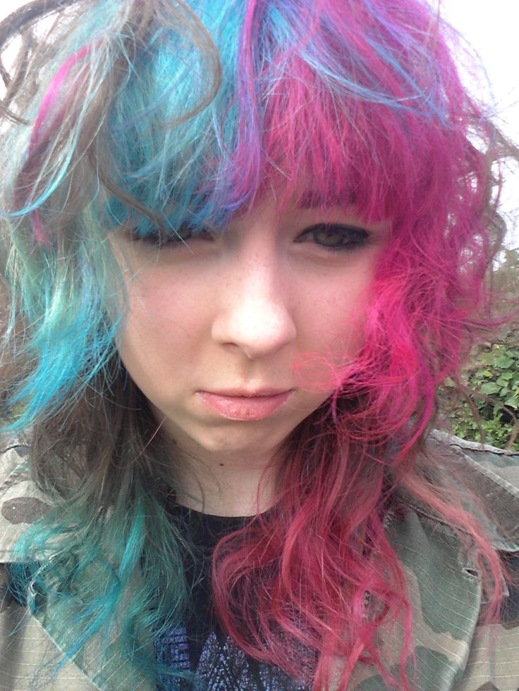 pink and blue hair dyed