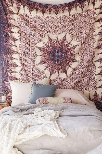 Vehari Medallion Copper Gold Brown Boho Bohemian Bedspread Wall Tapestry