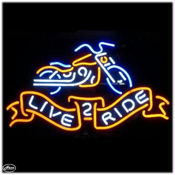 Retro Neon Bar Sign - Live 2 Ride. Perfect for your business, game room or garage.