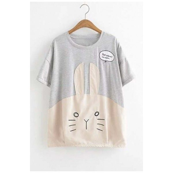 Cute Rabbit Pattern Round Neck Graphic Tee ($30) ❤ liked on Polyvore featuring tops, t-shirts, graphic print t shirts, graphic tees, bunny t shirt, color block t shirt and comic t shirts
