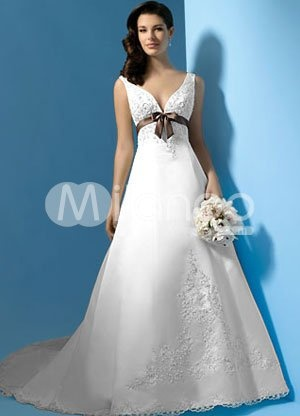 Ho Sale Empire Waist Beaded Appliques Satin A Line White And Purple Wedding Dresses Custom Made Size 4 6 8 10 12 14