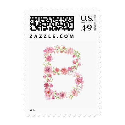 B Initial Floral Monogram Postage Stamp - bridal shower wedding marriage party bride idea