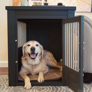 Merry Products End Table Pet Crate with Cage Cover - Now this makes a lot of sense: a dog crate discreetly housed within a stylish side table! The Merry Products End Table Pet Crate with Cage Cover has...                                                                                                                                                      More