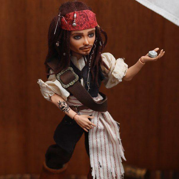 Капитан Джек Воробей. Авторский ООАК. Репейнт куклы Монстер Хай.
