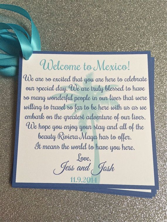"Great Addition for Wedding Welcome Bags!    This listing is for 5"" x 5"" printed Welcome note tag with satin ribbon. (Any of my designs can be"