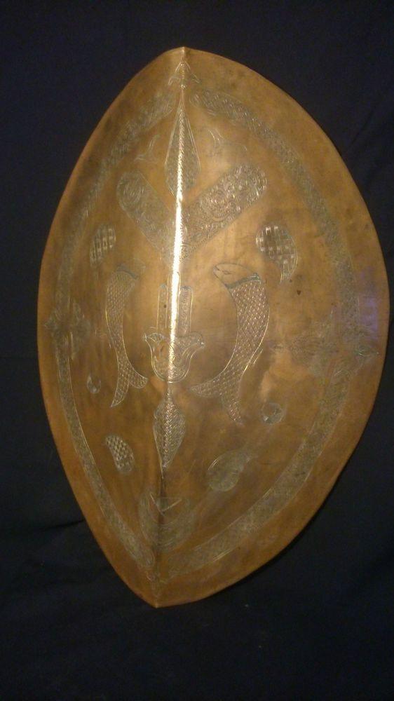Rare grand bouclier CUIVRE ROUGE XIXe ART ISLAMIQUE OTTOMAN décors ciselé 70cms