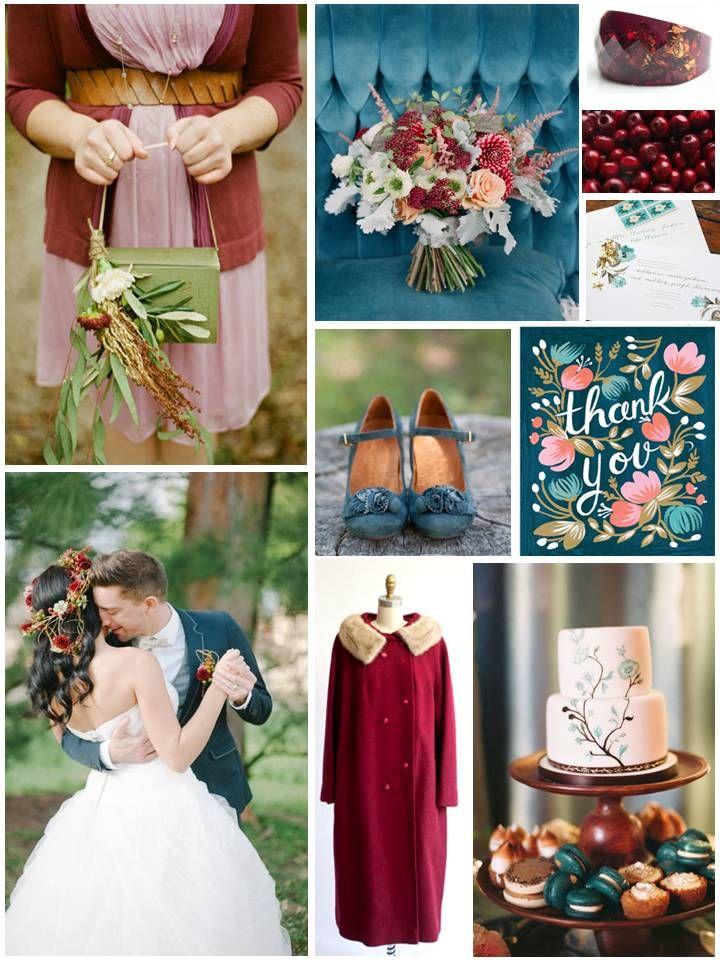 Autumn Teal & Cranberry Wedding Inspiration Board