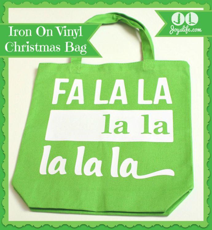 FaLaLa Iron On #Vinyl #Christmas Bag
