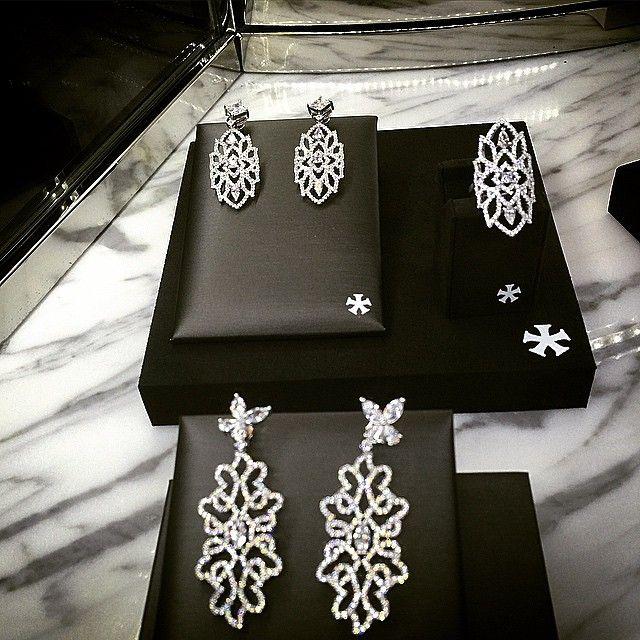 「 ⚡️New Heroine chandelier earrings coming soon⚡️#caratlondon #baselworld2015 」